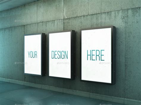 Poster Urban Subway Lightbox Mock Ups By Kheathrow Graphicriver Subway Poster Template