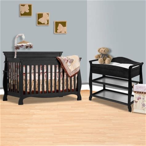 Storkcraft Black Venetian 4 In 1 Convertible Crib And Storkcraft Aspen Changing Table With Drawer