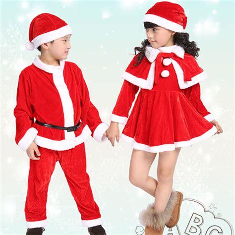Set Dress Kid Natal winter children boy costume velvet santa claus cap dress tops