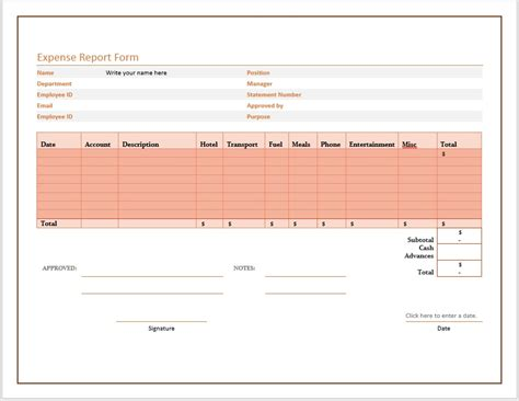 free expense report form word templates for free download