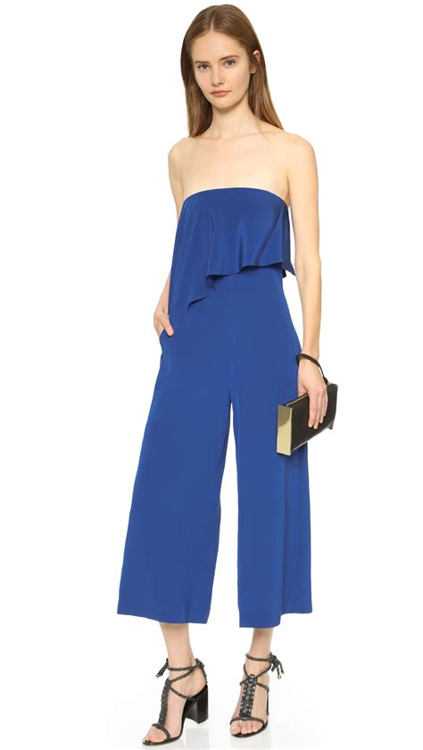 Draped Jumpsuit tibi heavy silk draped jumpsuit in blue lyst