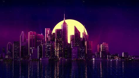 retro wave purple skyscraper city hd  wallpaper