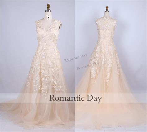 Handmade Wedding Gowns - chagne lace wedding dress appliques vintage