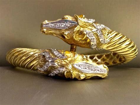 horse head diamond gold crossover bangle bracelet  sale