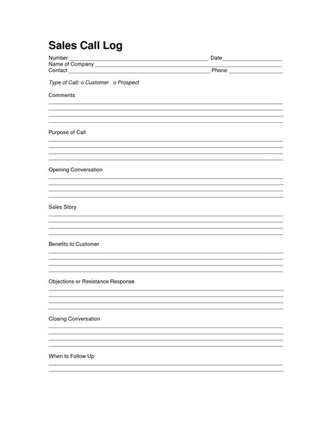 sales log sheet template sales call log template call