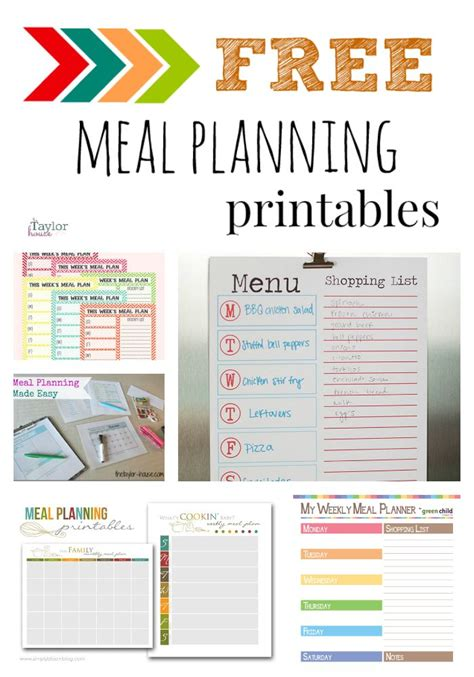printable meal planning menu 18 best meal planning images on pinterest calendar for