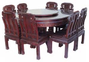 chinese rose wood flower carving round dinning table set