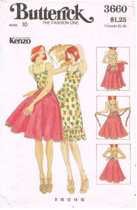 sewing pattern companies list butterick 3660 vintage 1970s sewing pattern kenzo