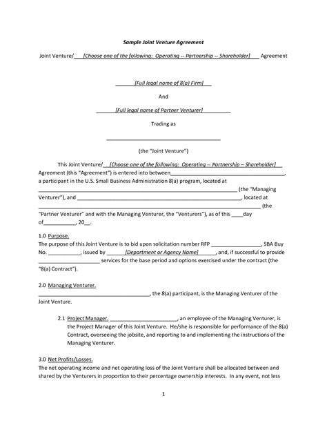 joint venture agreement template pdf best photos of joint agreement forms sle joint