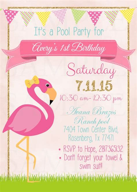 Pink Flamingo Pool Party Birthday Invitation Printable File By The Lovely Memories Catch My Flamingo Invitation Template Free