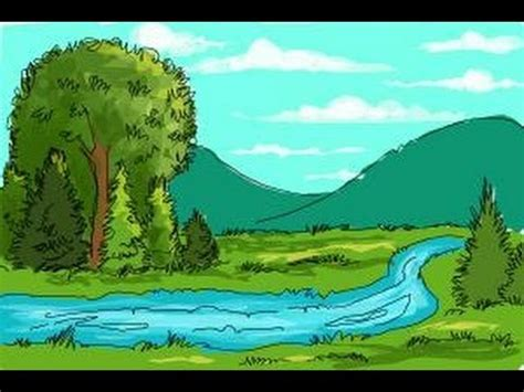 how to draw a river youtube