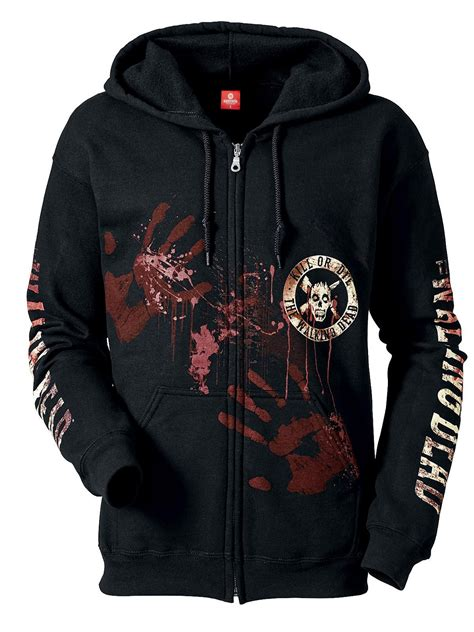 Hoodie The Walking Dead 2 the walking dead kill or die zipper hoodie black sweater hoodies