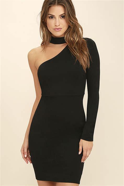 sexy black  shoulder dress long sleeve dress black