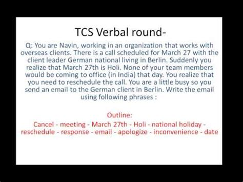 Email Writing Pattern Tcs   tcs email writing question and answer 2 youtube