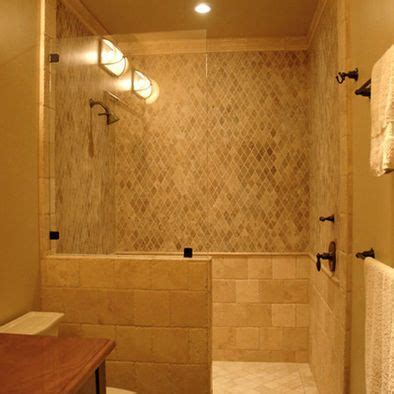 Walk In Shower Doors Glass Simple Glass Panel Walk In Shower No Door Would Build The Half Wall Up A Higher Home