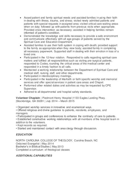 chaplain resume free excel templates