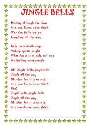 printable lyrics jingle bells english worksheets jingle bells