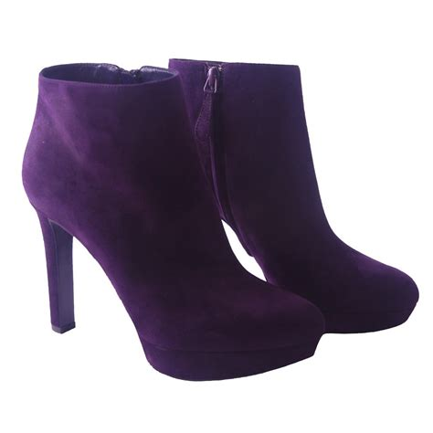 boots purple womens designer ankle boots footwear shoes wedges flats