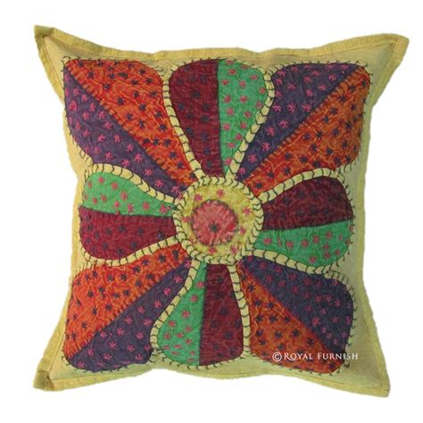 Handcrafted Pillows - indian handmade decorative appliqued accent multi