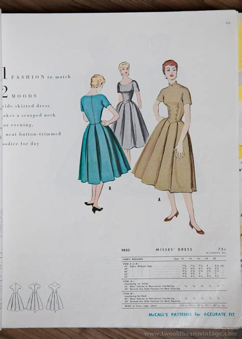 vintage mccalls pattern books 9850 mccalls 1954 winter vintage pattern 1950s two old