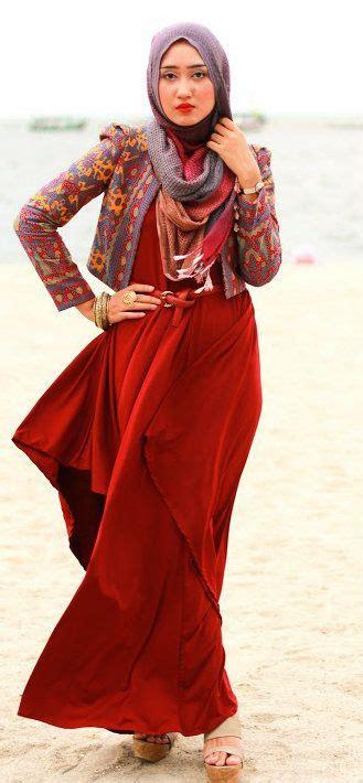 Tunik Tenun Pelangi Kombinasi 728f model baju muslim pesta modern ala dian pelangi remaja