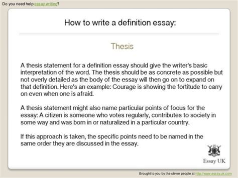 Writing Definition Essay by How To Write A Definition Essay