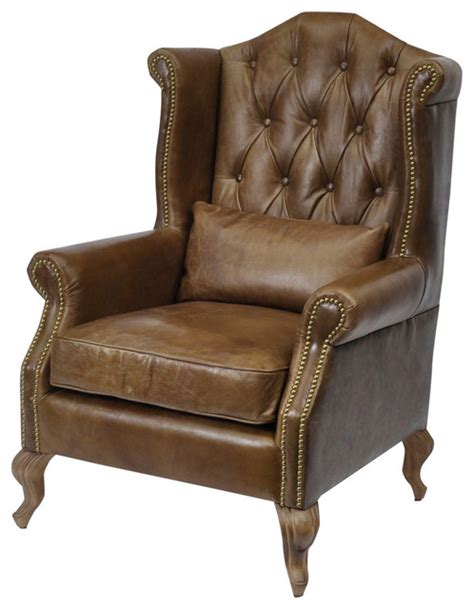 traditional leather armchairs woodcroft brown leather armchair with cushion