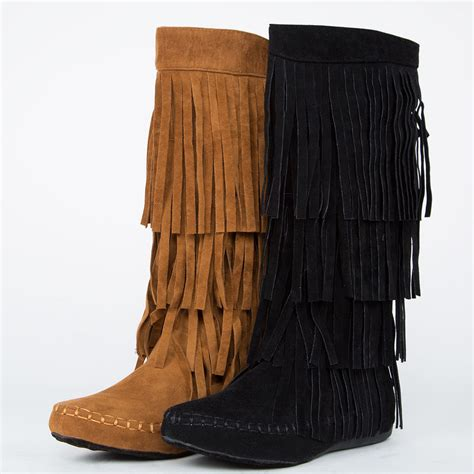 knee mid calf high faux suede moccasin fringe tassel