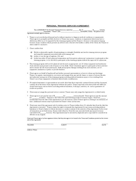personal training contract template 2 free templates in