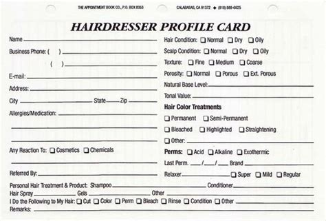 template hair salon client card items similar to hairdresser client profile cards pack