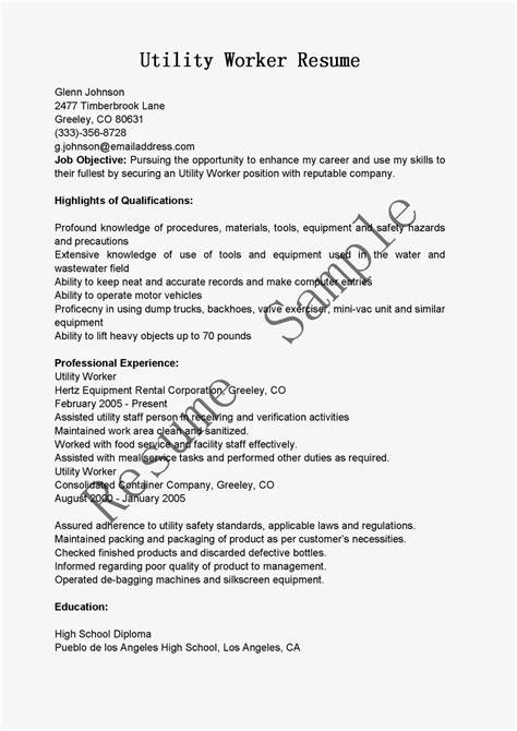 Utility Worker Resume by Resume Sles Utility Worker Resume Sle