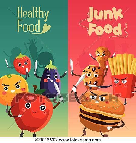 clipart of healthy food versus unhealthy food k28816503