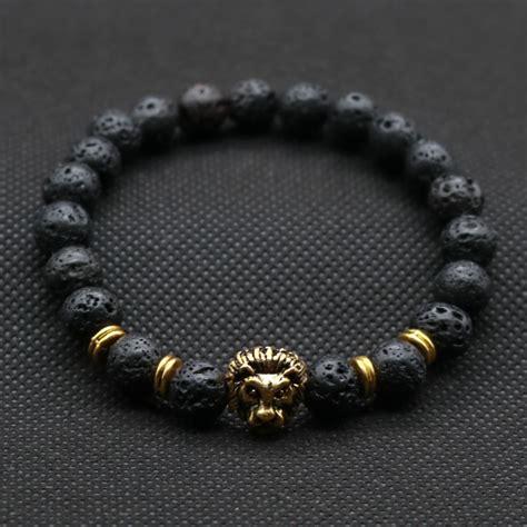 mens lava bracelets s lava bracelet with lionhead accent bead