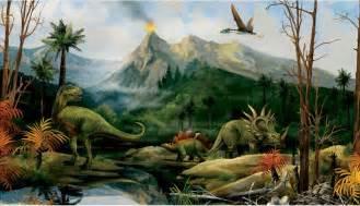Dinosaur Wall Mural Dinosaur Landscape Wall Mural Jurassic Dino Volcano