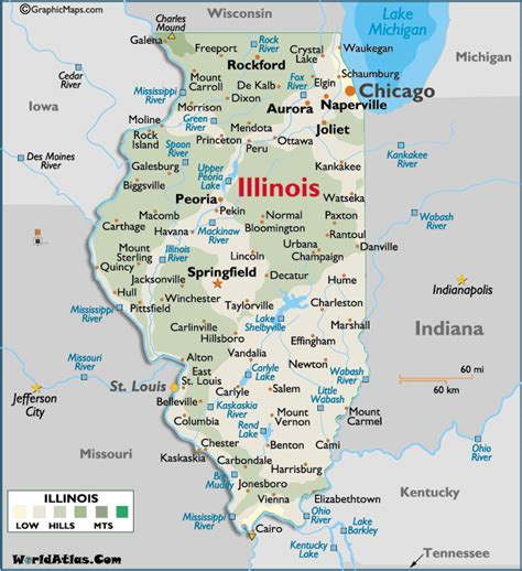 map of illinois cities in illinois map