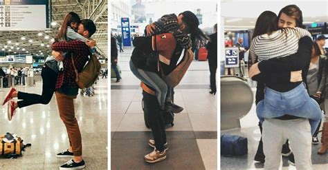 imagenes alegres de parejas parejas de enamorados que se reencuentran en el aeropuerto