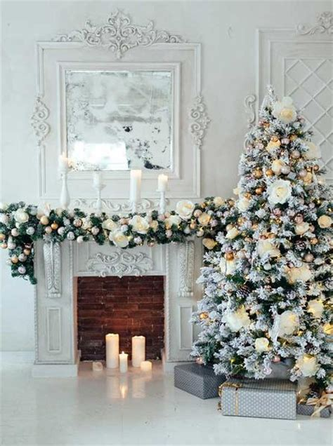 elegant fireplace christmas decorating ideas 4663 white tree decorations and fireplace backdrop backdrop outlet