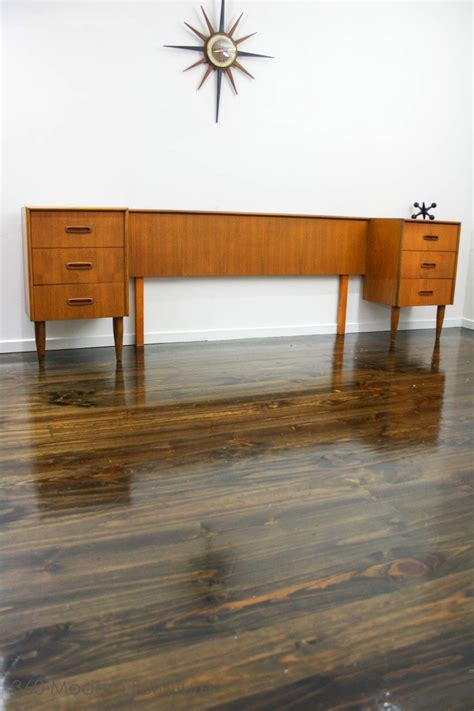 mid century qs bedhead bedside tables drawers retro