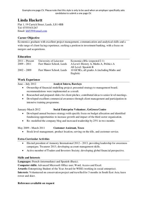 cv one page template exle single page cv