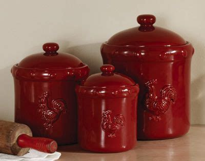 red ceramic canisters decorating pinterest canister sets red ceramic rooster canister set from
