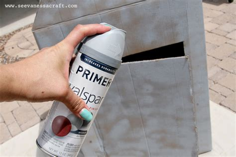 spray paint on cardboard diy tutorial cardboard box barn see craft