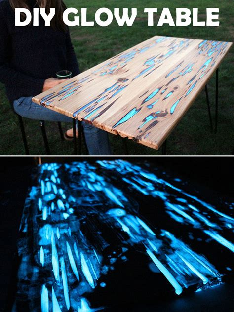 glow in the table make this glow in the table with photoluminescent resin