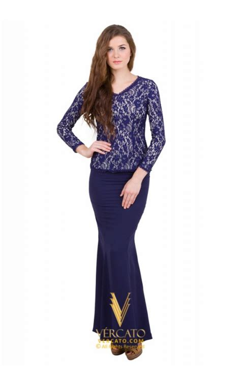 Baju Raya Warna Navy Blue baju kurung moden lace vercato in navy blue