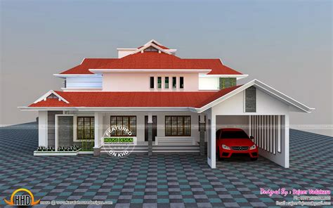 house all side view rendering kerala home design and