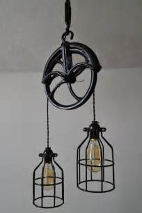 Pulley Chandelier Re Purposed Barn Pulley Industrial Light