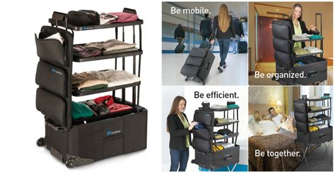 shelfpack suitcase with collapsible shelves built in