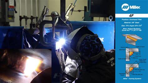 welding certification position  overhead fillet weld youtube