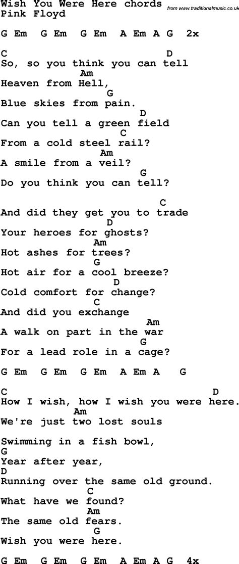 testo i wish song lyrics with guitar chords for wish you were here