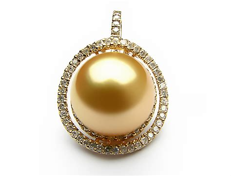 Golden South Sea Pearl Pendant 12mm 13mm Aaa