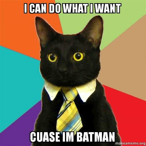 I Do What I Want Meme - i can do what i want cuase im batman business cat make